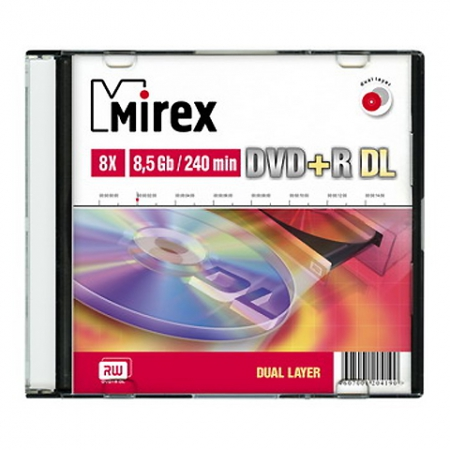Диск DVD+R 8,5Gb DL Slim 1 Mirex